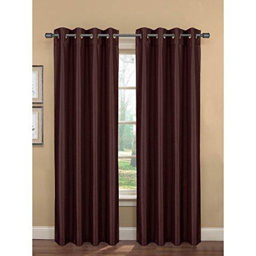 Bella Luna Bliss Faux Silk Room Darkening 76 x 84 in. Grommet Curtain Panel Pair, Brown