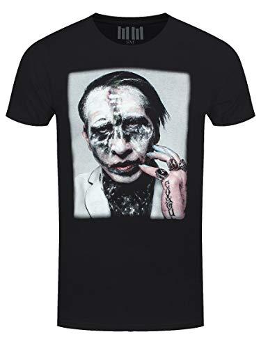 Marilyn Manson Men's Painted Face Euro Tour 2018 Slim Fit T-Shirt Medium Black
