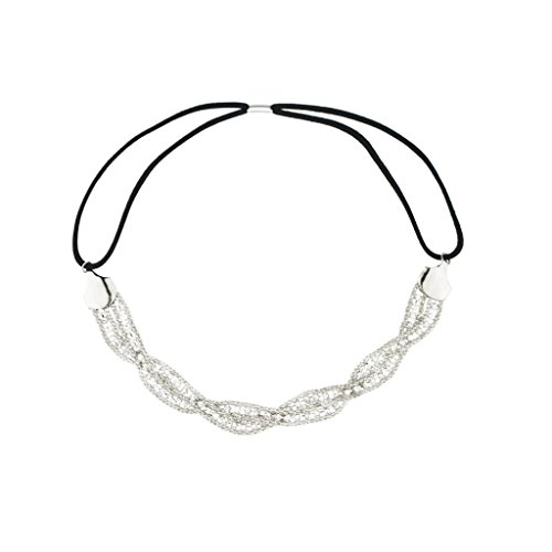 Lux Accessories Stretch Mesh Pave Thick Braid Fit Headband Head Piece
