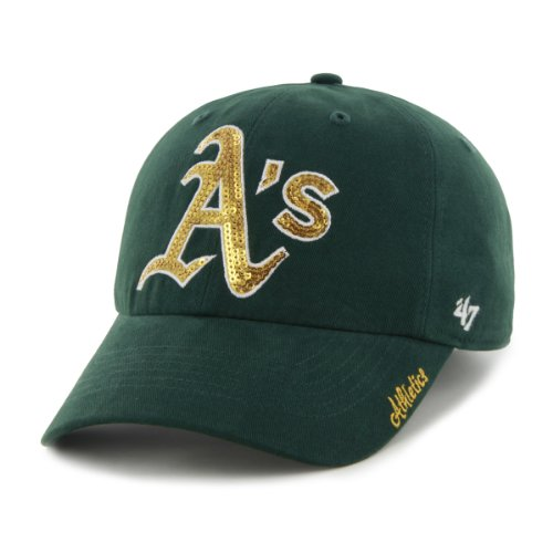 '47 MLB Oakland Athletics Sparkle Adjustable Hat, Womens, Dark Green