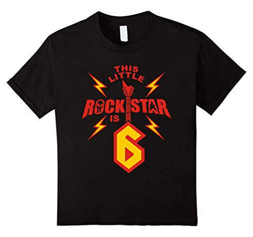 Price comparison product image Kids 6th Birthday Boys Rockstar T-Shirt Rock Music 6 Year Old 6 Black