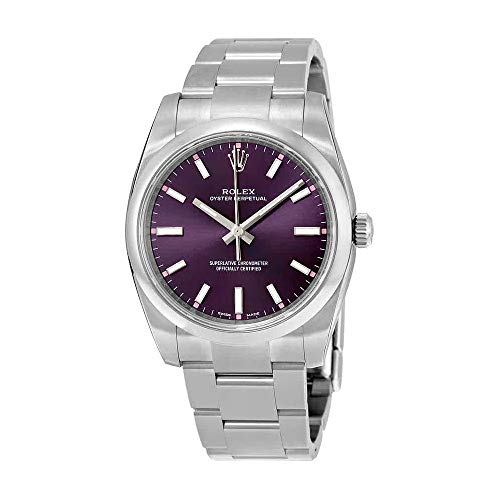 Rolex Oyster Prepetual Automatic Purple Grape Dial Stainless Steel Unisex Luxury Watch 114200RGSO