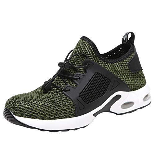 ◕‿◕Watere◕‿◕ Men's Sneakers,Steel Toe Shoes Men, Safety Work Sneakers Outdoor Industrial Construction Puncture Shoes Green ()