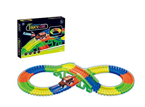 jjq-toys 128Pcs DIY GlowingレールRacingトラック電動LEDライト車セットキット子供のおもちゃVehicles