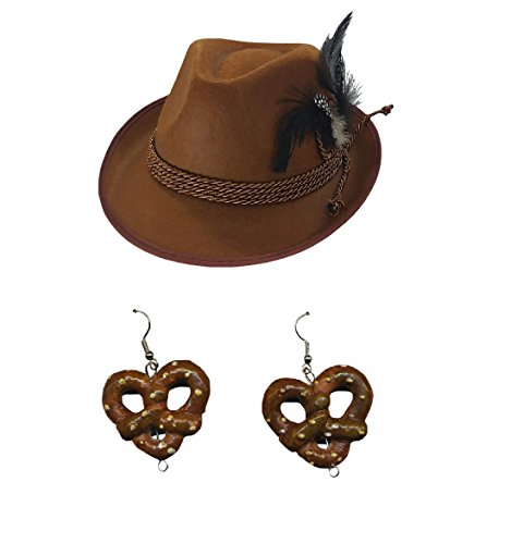 Womens Alpine Hat and Pretzel Earrings Oktoberfest Kit, Brown, One Size -