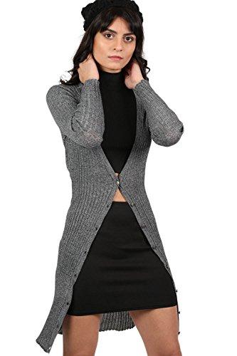PILOT® punto fino de canalé larga chaqueta de punto gris