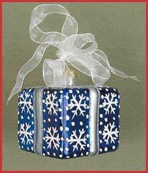 Margaret Cobane Glass Ornament - Xmas Sur Prise Square Snowflakes (Crest Ornament Christmas)