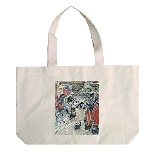 Flags On 5Th Ave Winter 1918 (Hassam) Cotton Natural Canvas Beach Tote - Ave Shopping On 5th