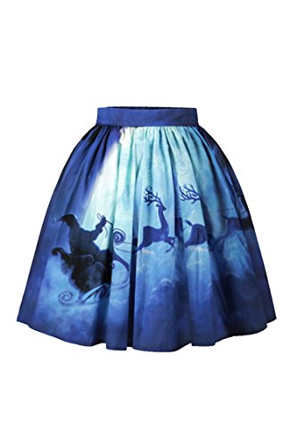 Meenew Women's Fashion Christmas Party Ugly Xmas Santa Claus Reindeer Skirt S -