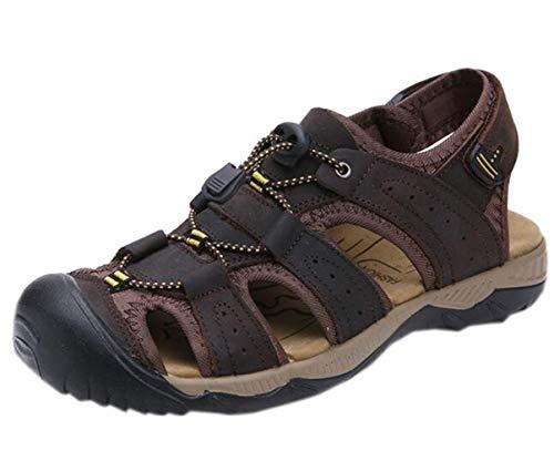 DADAWEN Men's Summer Leather Closed-Toe Adjustable Straps Outdoor Athletic Sandals Dark Brown US Size 9