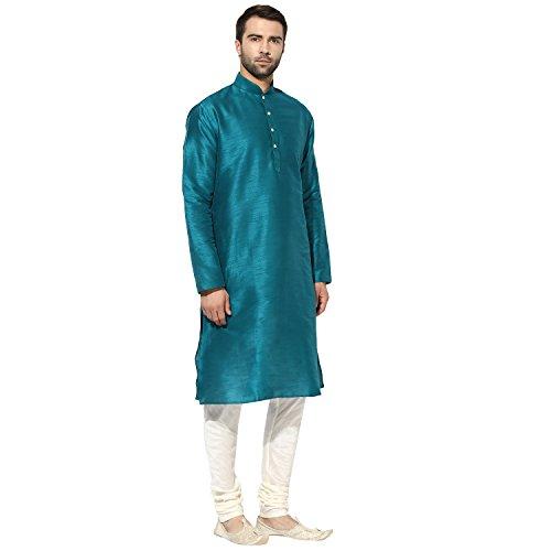 KISAH Men's Teal Blue Dupion Silk Solid Kurta Churidar Set by KISAH (Image #2)