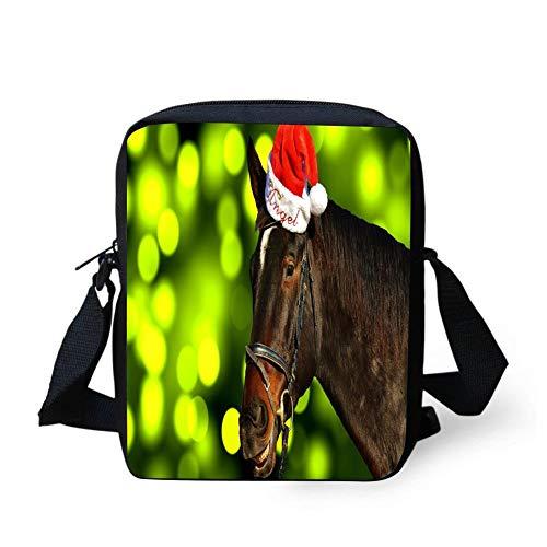 WODvyon Horse Christmas Santa Hat Funny Cool Pringt Design Lightweight Crossbody Bag Casual Shoulder Bags