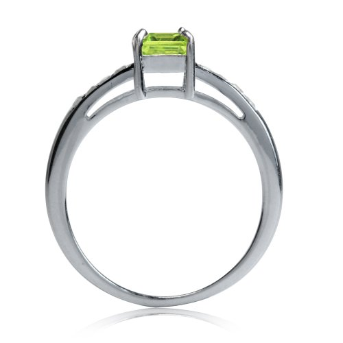 1.01ct. Natural Peridot & White Topaz 925 Sterling Silver Engagement Ring