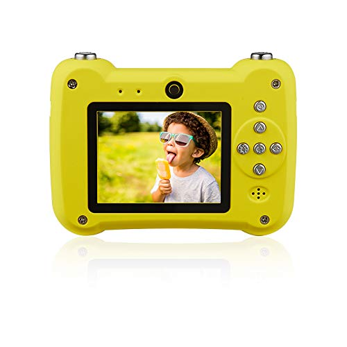 Ankasung Kids HD Digital Camera Point-and-Shoot Rechargeable Camcorder for Children (Yellow-Blue)