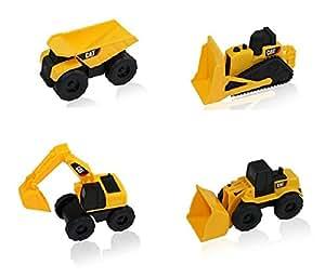 CAT Mini Machine Caterpillar Construction Toy Truck Mini Machine Set of 4, Dump Truck, Bulldozer, Wheel Loader and Excavator Free-Wheeling Vehicle Sand Box Toy Children Cake Toppers Party Favors