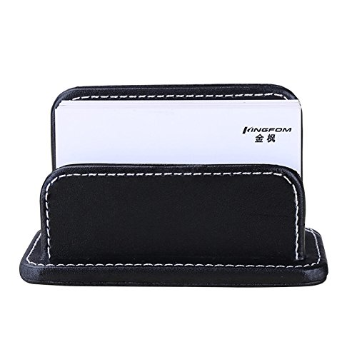 (KINGFOM Faux Leather Business Card Holder Name Card Organizer Desktop Card Stand, Capacity 60 Cards of 2.3 ×4 Inches (Black) )