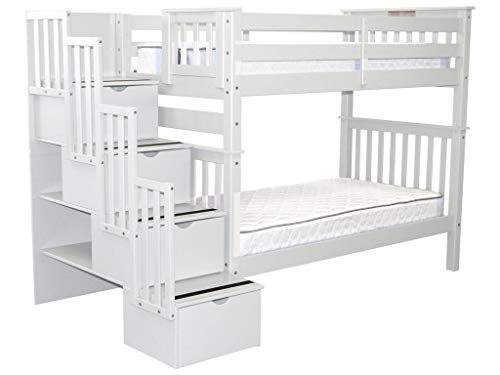 way Bunk Beds Twin over Twin with 4 Drawers in the Steps, White ()