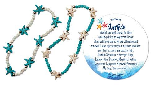 (SPUNKYsoul 2 Pack Starfish Anklet Beachy Howlite Starfish Stretch Anklet - 2 Pack Beach Collection)