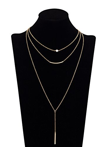 Geerier Layered Necklace Pendant Crystal