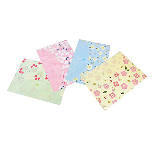 LONG7INES Cute Floral Printed File Folder, A4 Letter Document Organizer, Filing Bag with Snap Button