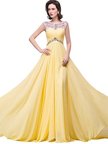 Beaded Chiffon Long Prom Dresses 2015 for Women Party,  Yellow, 2