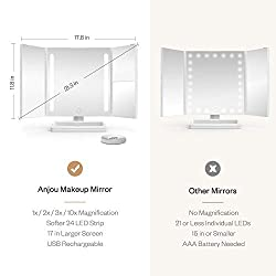 Anjou Makeup Mirror, Tri-fold Vanity Mirror with 2x/3x and Detachable 10x Magnification, 24 LED Strip Light for Brighter and Soft Light, Touch Screen Dimming, Protable USB Rechargeable Design
