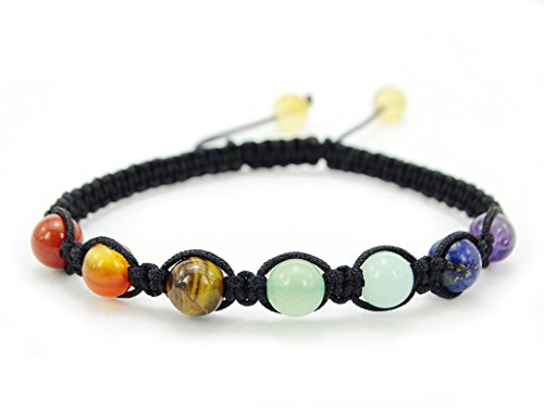 jennysun2010 Style 2 6mm Natural Reiki Chakra Gemstones Braided Black Rope Round Beaded Handmade Adjustable Bracelet Healing Unisex (5.5 Inches Adju…