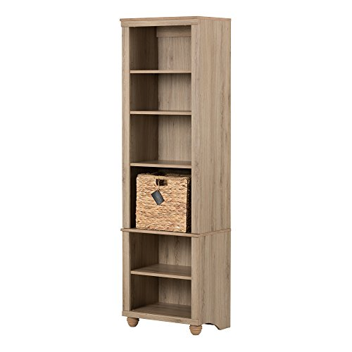 South Shore Hopedale Narrow 6-Shelf Bookcase with Rattan Basket,Rustic Oak and Beige ()