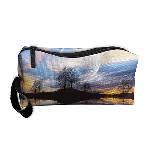Cosmetic Bags Brush Pouch Makeup Bag Lake Tree And White Swan Zipper Wallet Hangbag Pen Organizer Carry Case Wristlet Holder -