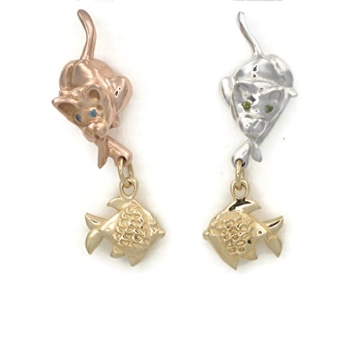 14Kt Cat Earrings, Rose Gold Siamese Cat Earrings, Diamond Cat Earrings, Donna Pizarro's Animal Whimsey Collection of 14Kt Gold Cat Jewelry 14kt Gold Cat Ring