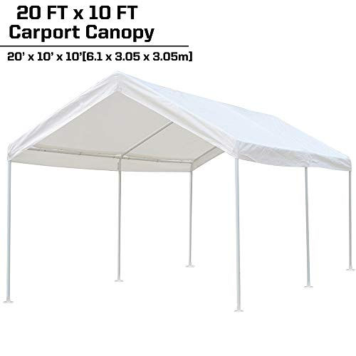kdgarden 10 x 20 ft. Carport Car Canopy Portable Garage Shelter, Heavy Duty 1-1/2