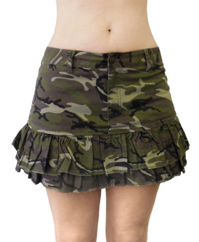 Sexy A-line Ruffled Mini-skirt in Camouflage M