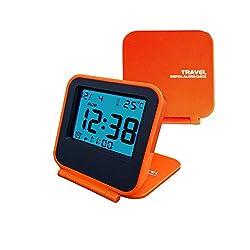 Egundo Small Digital Travel Alarm Clocks,Battery Operated Travel Clock with Alarms Lights,Portable Folding Mini Pocket Temperature Clock for Outdoor Kids Beside Bed Desk Table CruiseCamper(Orange)