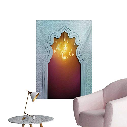 Anzhutwelve Moroccan Wallpaper Door with Star and Moon Artistic Style Arabic Words Oriental DesignPale Blue Maroon Apricot W20 xL28 Poster Paper