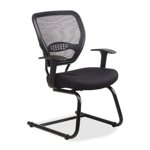 Office Star Space Collection Black Mesh Guest Chair with Air Grid Back and Black -