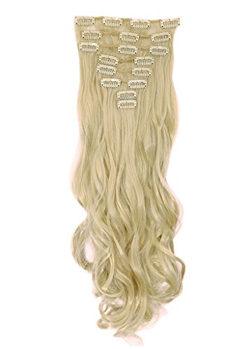 Haironline 8Pcs 18 Clips 17-26 Inch Curly Straight Full Head Clip in on Hair Extensions Hairpiece 9 colors Long Smooth Soft Silky Straight Curly for Women Fashion