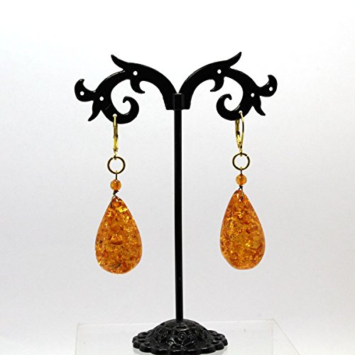 Handmade Baltic Amber Gold Plated Leverback Earrings Amber Gold Plated Ring