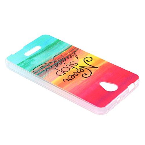 Lusee® Funda de silicona para Alcatel Onetouch Pop 4 plus 5.5 Suave Cascara TPU colorido Never stop dreaming