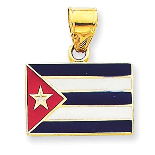14 Carats Pendentif émaillé Motif Drapeau Cuba-Dimensions :  21 x 18 mm-JewelryWeb