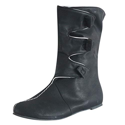 Women Retro Roman Ankle Boots,2019 Western Biker Combat Boot Comfy PU Leather Flat Buckle Strap Casual Shoes Booties Black (Best Wading Boot 2019)