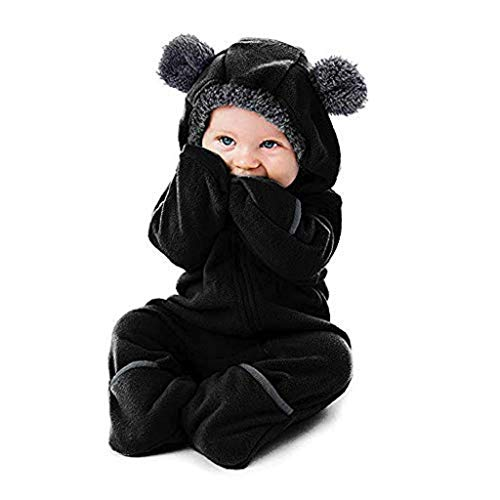 Tronet Fleece Baby Bunting Onesie Jacket - Infant Pajamas Romper Winter Outerwear Coat Costume (Bear - Black, 80(Age:6-12 Months))