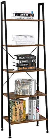 VINGLI Ladder Shelf 5-Tier Industrial Bookcase Free Standing Ladder Bookshelf