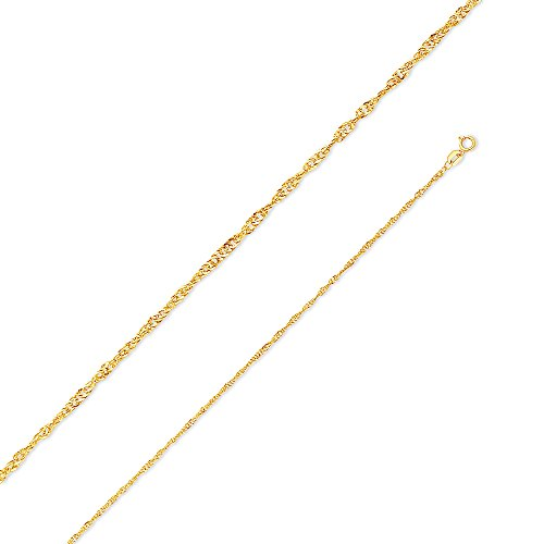 14k Yellow Gold 1.5mm Hollow Singapore Chain Necklace 22
