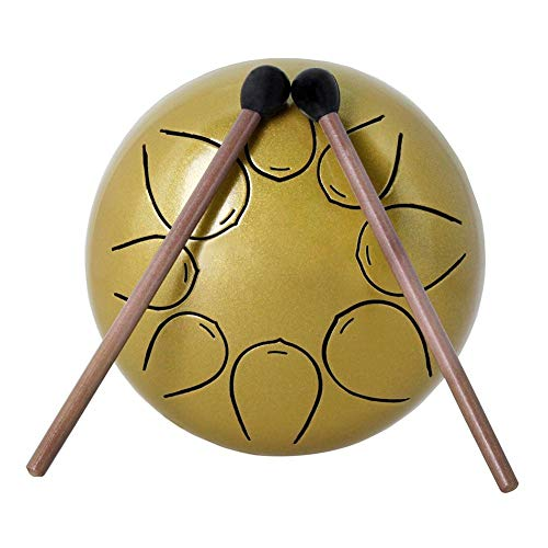 (Ladeyi 5-inch Steel Tongue Drum Mini Percussion Instrument Nepenthe Drum Ebony Drum Innovative Lotus Drum Empty Drum for Full Ethereal Sound (with 2 Drumsticks + 1 Pack) (Paper)