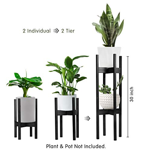 Becko 2 Pack Plant Stands Plant Racks Pot Holders, 2 Tier Tall Plant Stand for Home Decor Fit Pots in Varied Sizes with Adjustable Width 8 – 12 inches, Plant & Pot Not Included (Black)