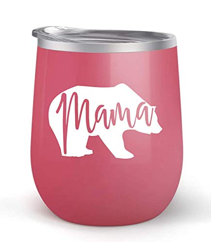 (Mama Bear - Choose your cup color & create a personalized tumbler for Wine Water Coffee & more! Premier Maars Brand 12oz insulated cup keeps drinks cold or hot Perfect gift)
