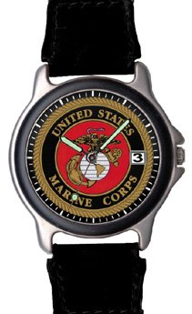 Aqua Force Marines Frontier Watch with 38mm Face and Nylon/Leather Band (Style - Chrome Frontier Watch