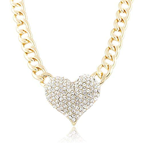Womens Heart Necklace Rhinestone Hollow Toggle Bracelet Pendant Jewelry Mixpiju -