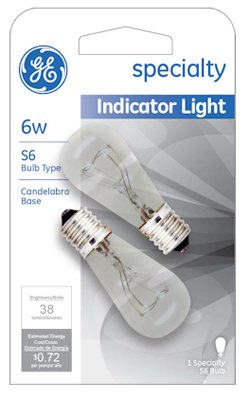 GE Lighting 15820 6-Watt Indicator Light S6 2-Pack