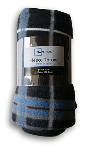 Black and Blue Plaid Fleece Throw Blanket - 50in X 60in